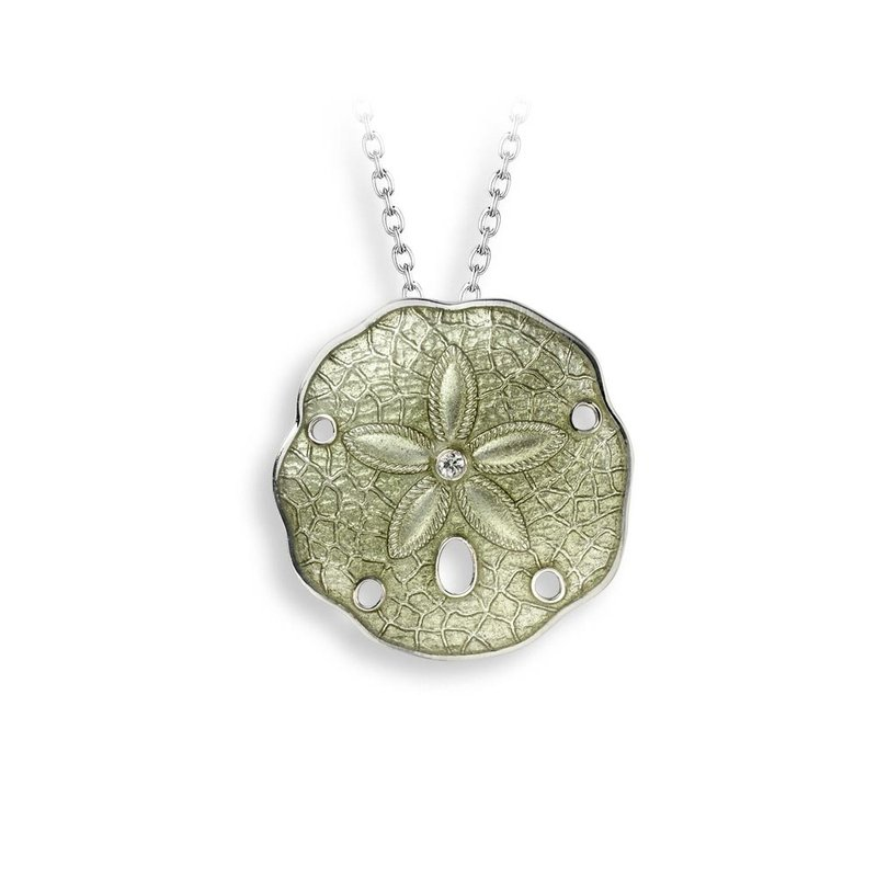 Nicole Barr Designs Green Sand Dollar Necklace.Sterling Silver-White Sapphire