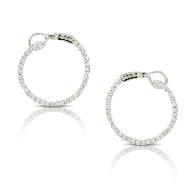 Doves Diamond Circle Earrings 18KW