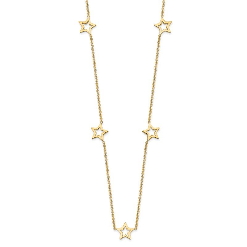 Quality Gold 14K Yellow Gold Star w/2in Extension Necklace