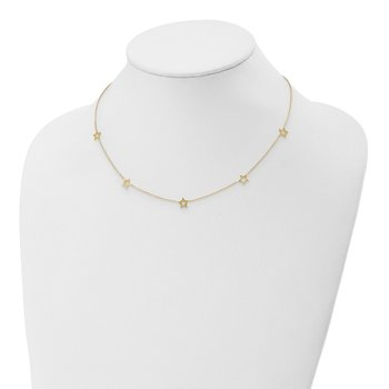 14K Yellow Gold Star w/2in Extension Necklace
