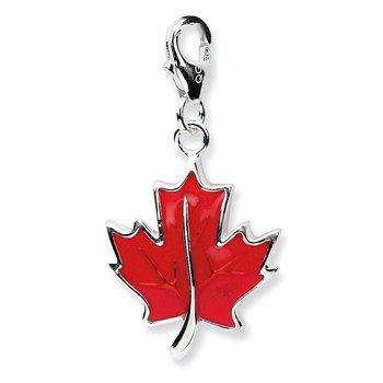 Sterling Silver Amore La Vita Rhodium-pl 3-D Enameled Maple Leaf Charm
