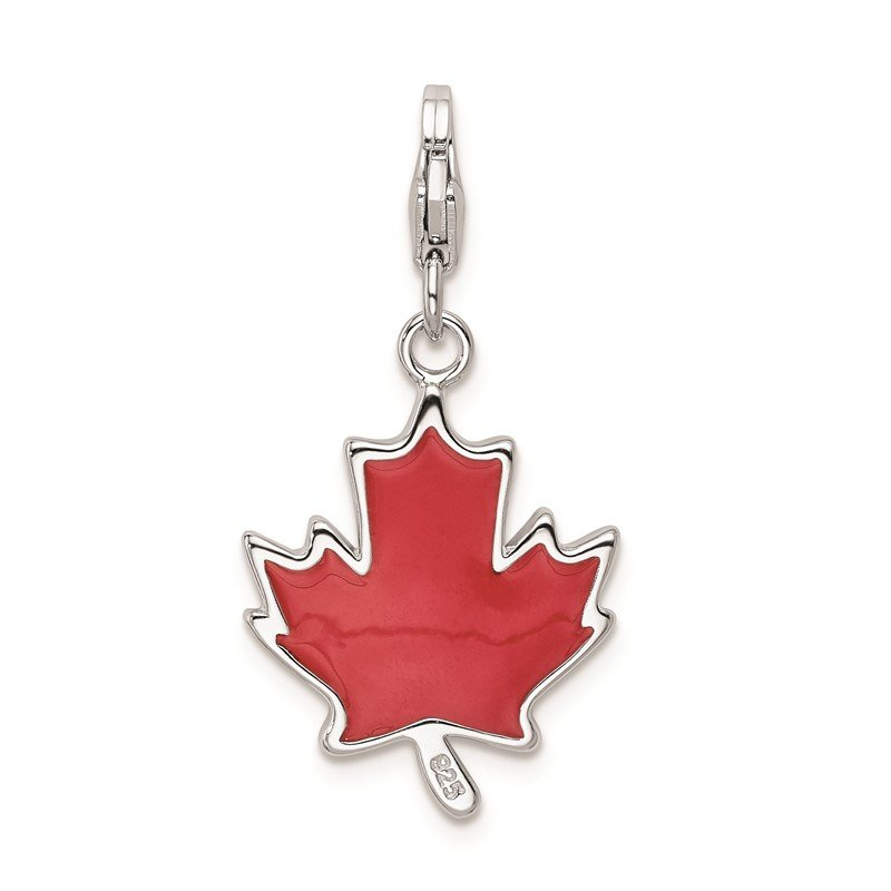 Quality Gold Sterling Silver Amore La Vita Rhodium-pl 3-D Enameled Maple Leaf Charm