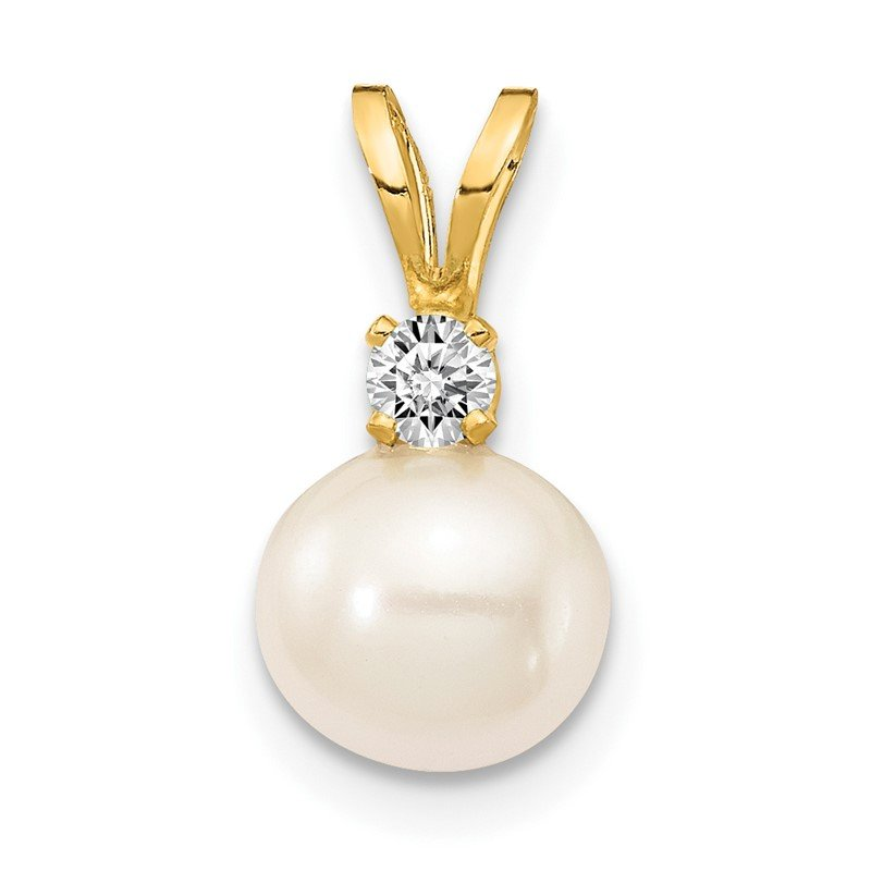 Quality Gold 14k 6mm White FW Cultured Pearl AA Diamond Pendant