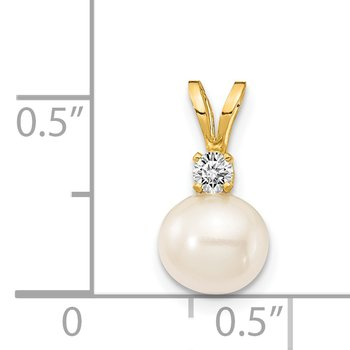 14k 6mm White FW Cultured Pearl AA Diamond Pendant