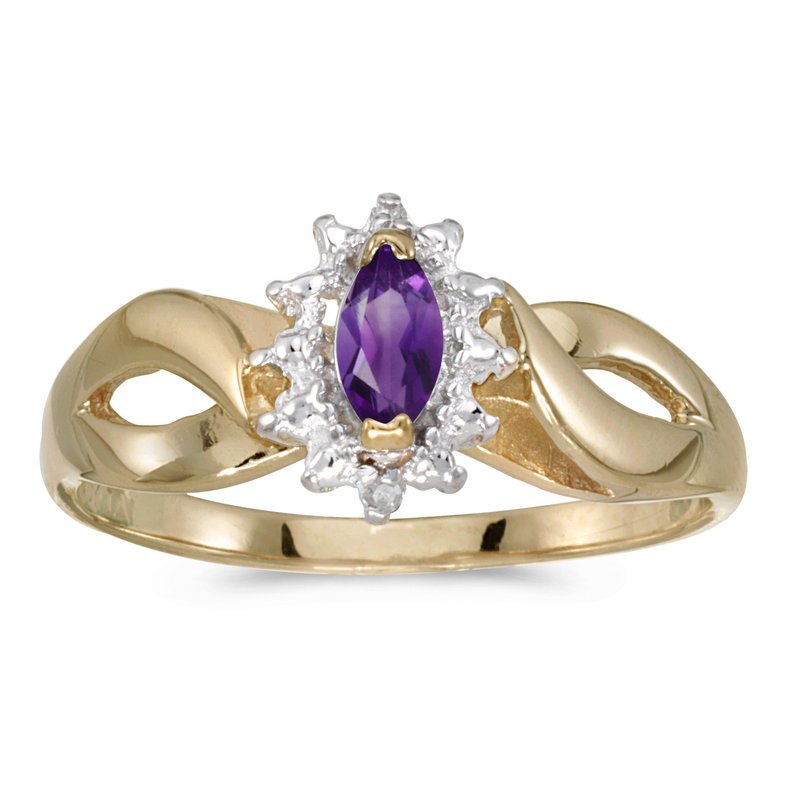Color Merchants 14k Yellow Gold Marquise Amethyst And Diamond Ring