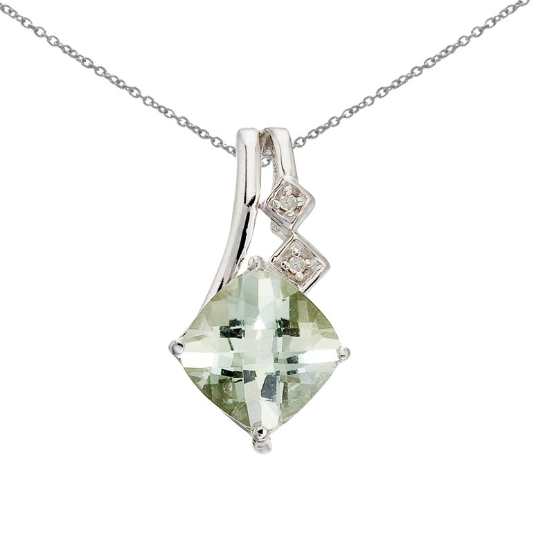 Color Merchants 14K White Gold Green Amethyst and Diamond Pendant
