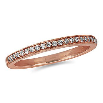 10K Rose Gold Diamond Milgrained Edge Wedding Band