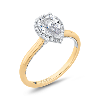 18K Two-Tone Gold Pear Diamond Halo Engagement Ring (Semi-Mount)