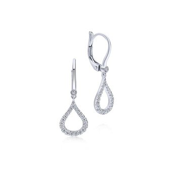 14K White Gold Diamond Pavé Droplet Earrings