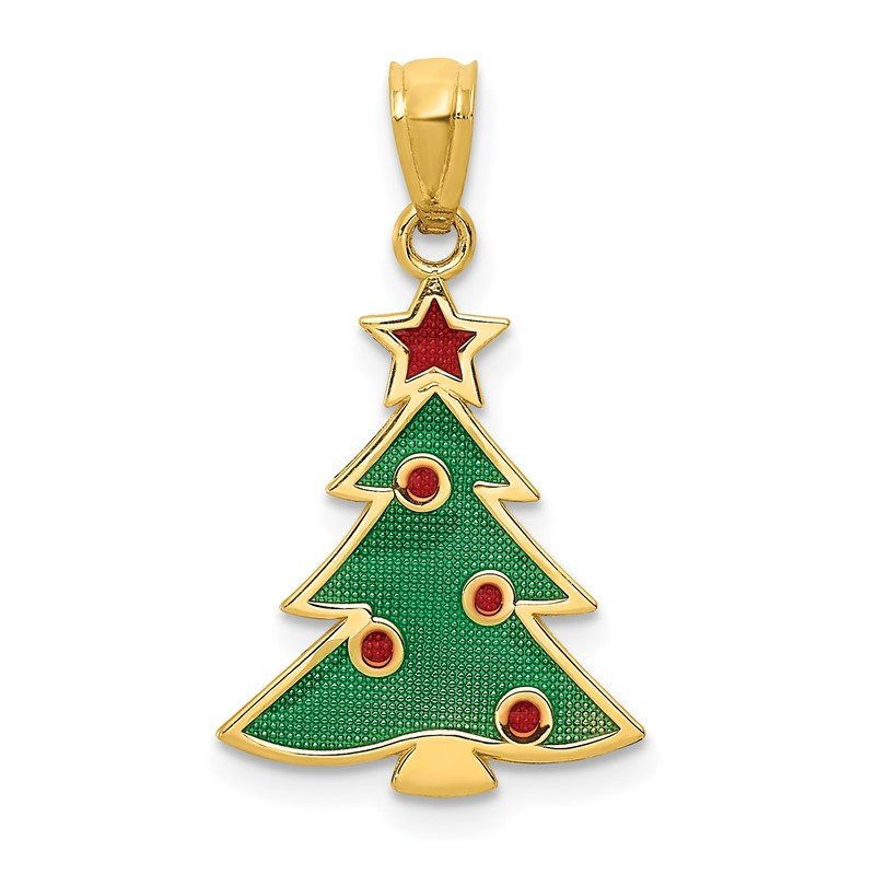 J.F. Kruse Signature Collection 14k Enameled Christmas Tree Pendant