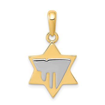 14k Two-tone Chai on Star of David Pendant