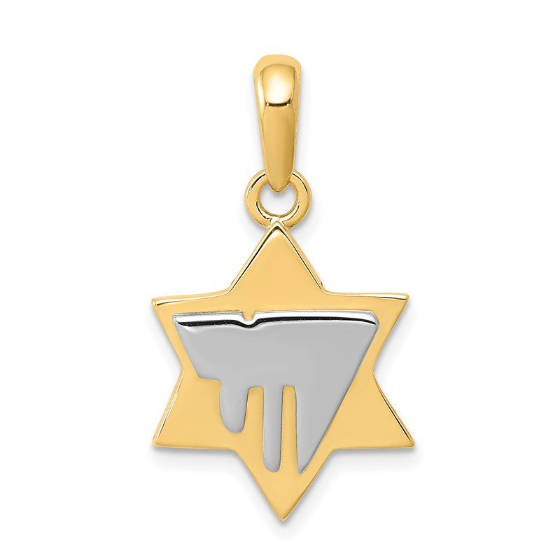 Quality Gold 14k Two-tone Chai on Star of David Pendant