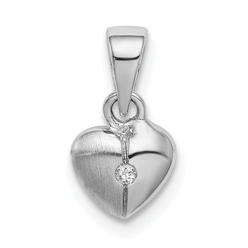 Sterling Silver Rhodium-plated Childs Brushed Heart CZ Pendant