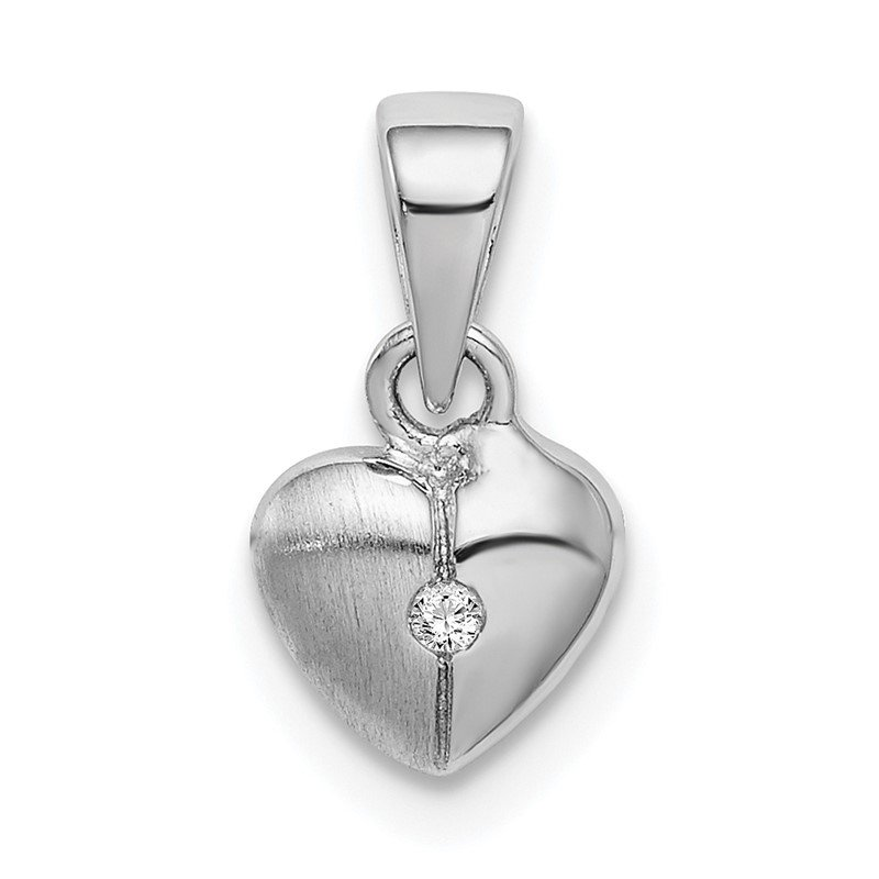 J.F. Kruse Signature Collection Sterling Silver Rhodium-plated Childs Brushed Heart CZ Pendant