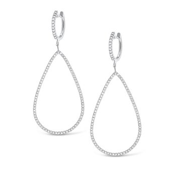 Diamond Large Teardrop Earrings in 14K White Gold with 178 Diamonds Weighing  1.24ct tw