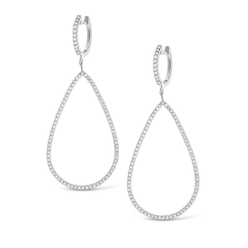 KC Designs Diamond Large Teardrop Earrings in 14K White Gold with 178 Diamonds Weighing  1.24ct tw