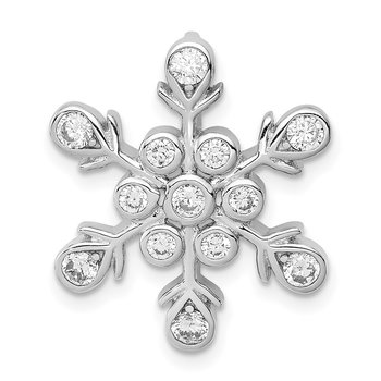 Sterling Silver CZ Snowflake Chain Slide