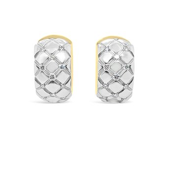 18K Yellow Gold Diamond Quilted Hoop Earrings