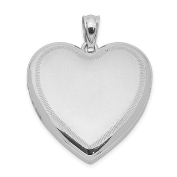 Sterling Silver Rhodium-plated Polished & Satin Heart Locket