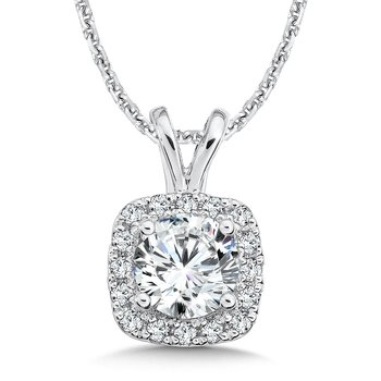 Diamond Cushion Halo Pendant with Split Bale in 14K White Gold (1ct. tw.)