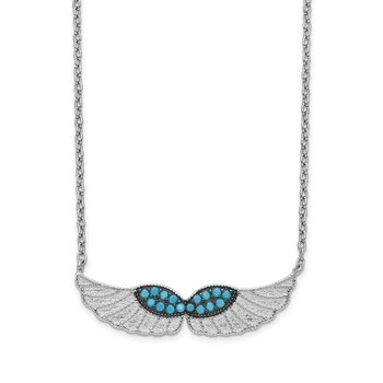 Sterling Silver Turquoise CZ Angel Wing Necklace