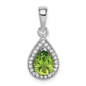 Sterling Silver Rhodium Plated Green and Clear CZ Pendant