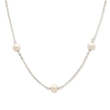 Sterling Silver Rhodium 7-8mm White FWC Pearl w/2in ext. Necklace