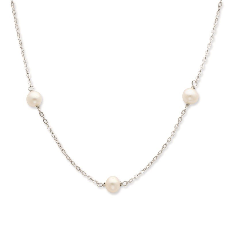 Quality Gold Sterling Silver Rhodium 7-8mm White FWC Pearl w/2in ext. Necklace