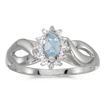 10k White Gold Marquise Aquamarine And Diamond Ring