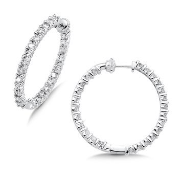 Pave set Diamond Reflection Hoops in 14k White Gold (1ct. tw.) JK/I1