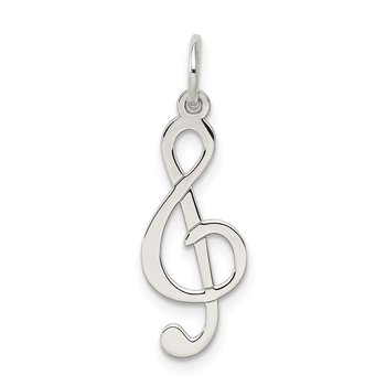 Sterling Silver Rhodium-plated Treble Clef Polished Charm