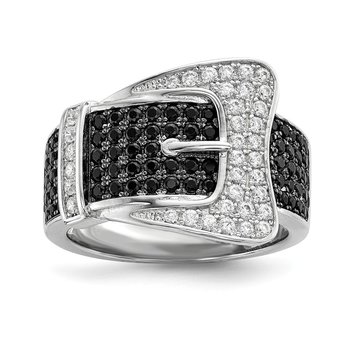 SS Rhodium-Plated CZ Brilliant Embers Buckle Ring