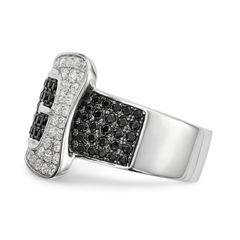 J.F. Kruse Signature Collection SS Rhodium-Plated CZ Brilliant Embers Buckle Ring