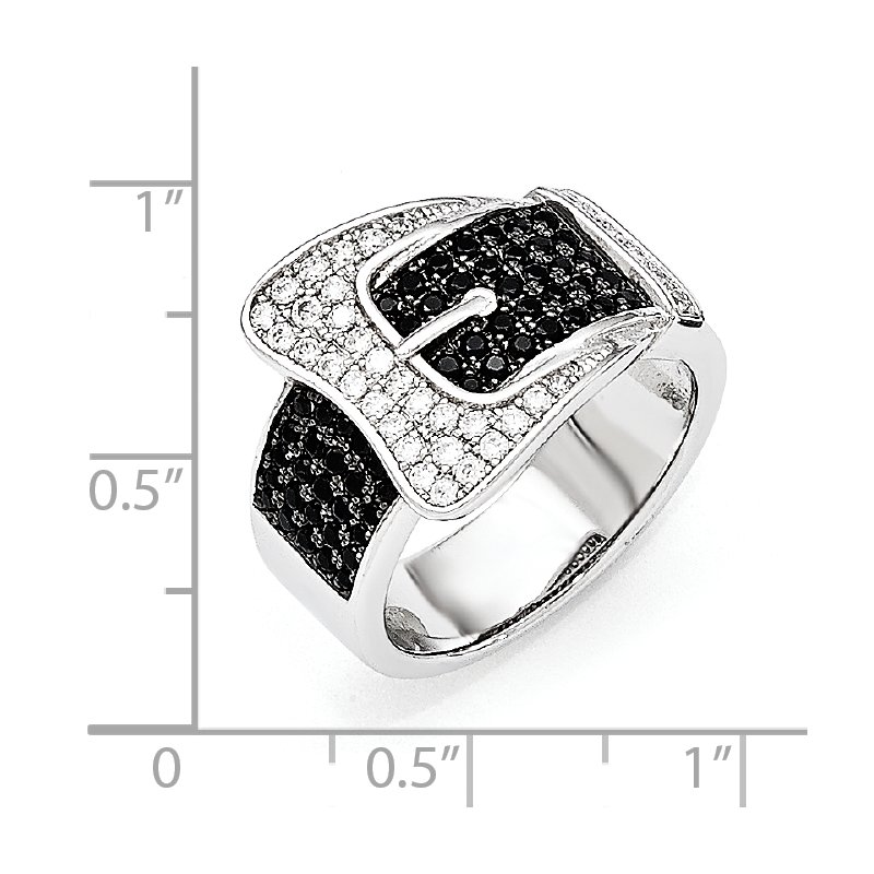 Quality Gold Sterling Silver Brilliant Embers Rhodium-plated CZ Buckle Ring