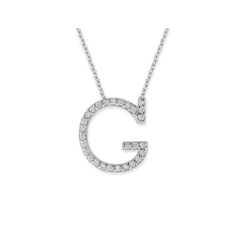 "KC Designs Diamond All Star Initial ""G"" Necklace in 14K White Gold with 28 diamonds weighing 28ct tw."