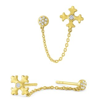 14k Gold and Diamond Maltese Cross Earring