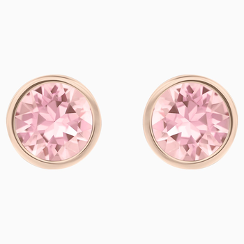 Solitaire Pierced Earrings, Pink, Rhodium plated
