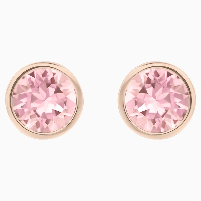 Swarovski Solitaire Pierced Earrings, Pink, Rhodium plated