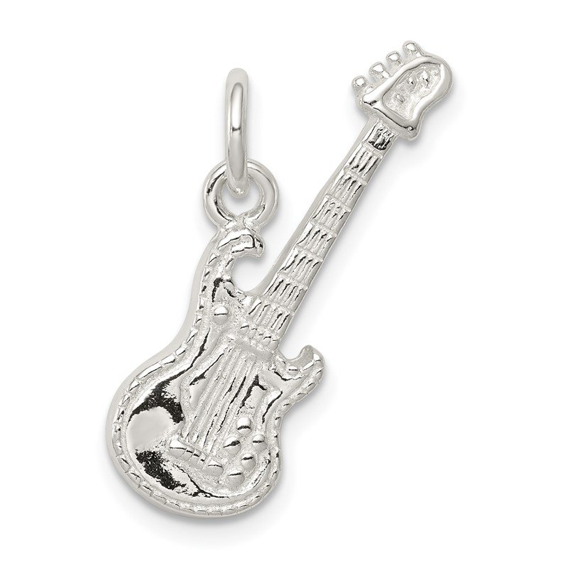 Quality Gold Sterling Silver Electric Guitar Charm
