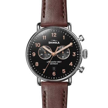 The Canfield Sport 43mm 2 Eye Chrono, Dark Cognac Leather Strap Watch