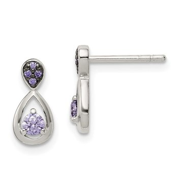 Sterling Silver Purple CZ Post Earrings