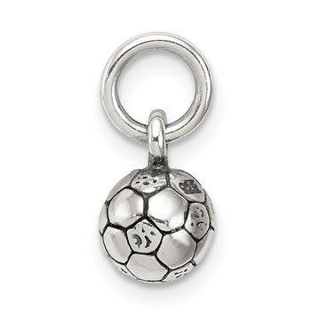 Sterling Silver Antiqued Soccer Ball Char