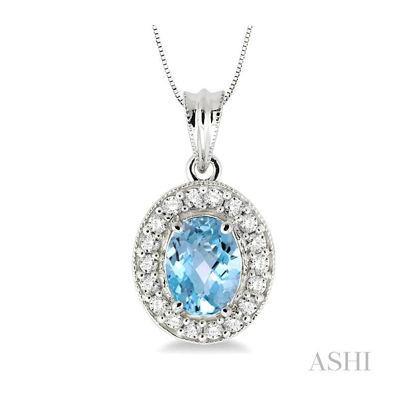 Barclay's Signature Collection oval shape gemstone & diamond pendant