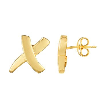 14K Gold Sculpted X Earrings