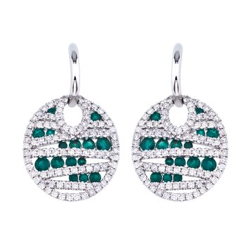 14k White Gold Emerald and Diamond Disc Earrings