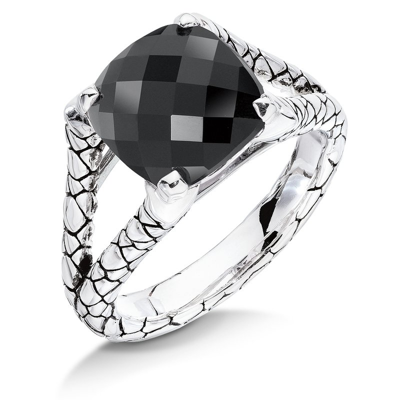 Colore Sg Sterling silver and black onyx ring