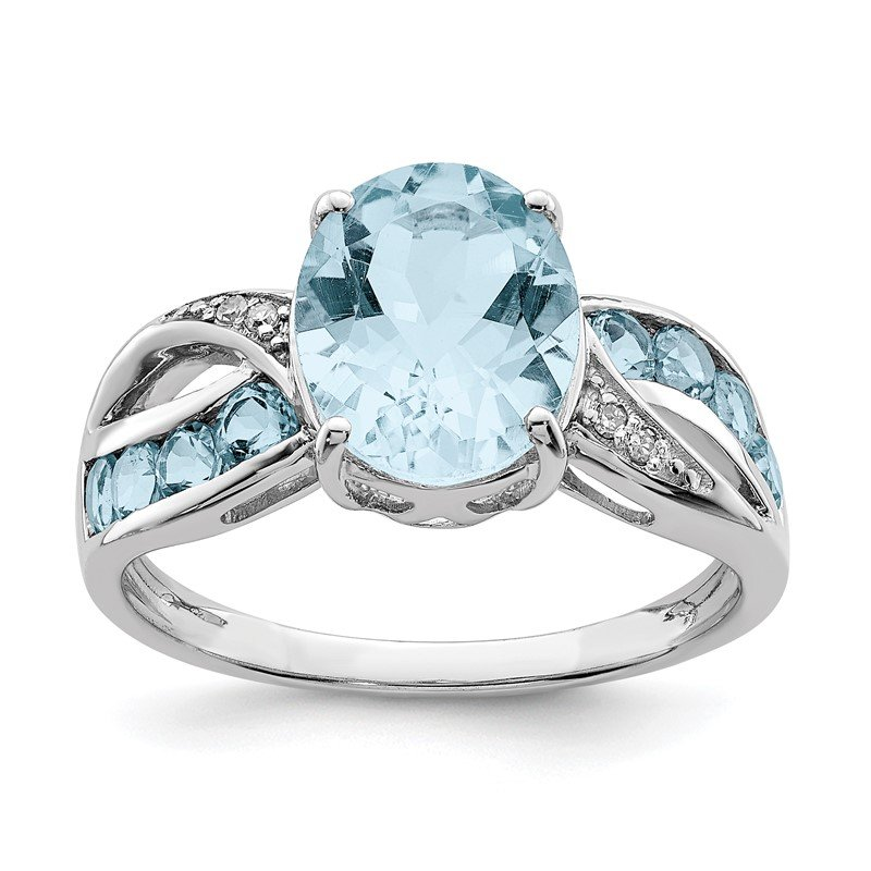 Quality Gold Sterling Silver Rhodium Diam. & Light Swiss Blue Topaz Ring