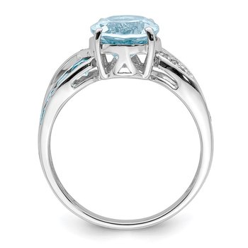 Sterling Silver Rhodium Diam. & Light Swiss Blue Topaz Ring