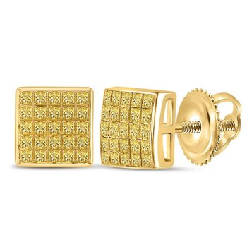 10kt Yellow Gold Womens Princess Yellow Color Enhanced Diamond Square Cluster Earrings 5/8 Cttw
