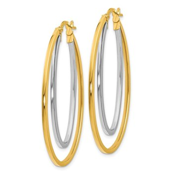 Leslie's 14Ky White Gold Flash-plated Polished Hoop Earrings